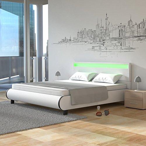 Homelux LED Bett PU Polsterbett Kunstlederbett Doppelbett Bettgestell Bettrahmen 160 x 200 cm Weiss