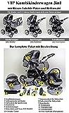3 in 1 Kombikinderwagen Komplettset VIP – inkl. Kinderwagen, Babyschale und Sportwagen Aufsatz – 1. ALU Hartgummi Bereifung – 19. Schwarz-Weiss - 3