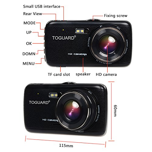 TOGUARD two Lens Dash Cam front and rear recording ATST Night Vision40 IPS ScreenHD 1080P vehicle Dash Camera Rearview Backup Camera130 Degree extensive Angle WDR trap Recording G sensor Parking monitor vehicle Driving Recorders