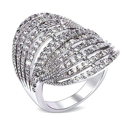 Aienid Frauen Ring Vergoldet Weiss Gold Hohlen Hut Ausschneiden Zirkonia Cz Größe 60 (19.1)