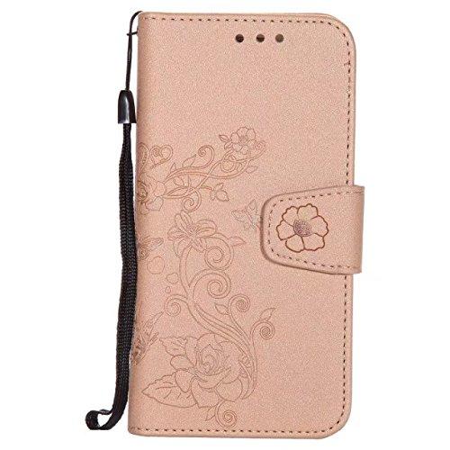 Abnehmbare 2 in 1 PU + TPU Ledertasche geprägte Blumen Stil glänzende Sparkles Brieftasche Stand Case Cover mit Kreditkarte Slots & Lanyard & Magnetic Closure für Samsung Galaxy S7 Edge ( Color : Brow Gold