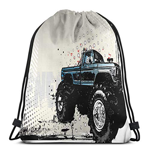 cf630c4b4aa5 BBABYY Printed Drawstring Backpacks Bags,Halftone Pattern Background with  Color Splashed Frame and Monster Truck Motif,Adjustable String Closure