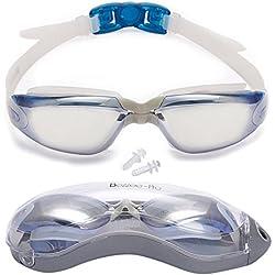 Gafas de Natación Profesional por Bezzee Pro - Lentes Espejo - Anti Niebla - Hermético - Ajustable - 100% Garantía De Devolución De Dinero - Gafas de Natación Para Adultos Con Visión De 180 Grados - Lo Mejor Para Hombres, Mujeres