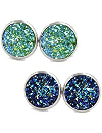 791235826 Yellow Chimes Stardust Stylish 2 Pairs Combo Silver Plated Stud Earrings  for Women (Multi-Colour)(YCFJER-04STRDST…