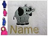 Childs accappatoio con cappuccio con un elefante Baby logo e nome a scelta in rosa. Età: 2, 4, 6, 8, 10o 12, Pink, 6 anni