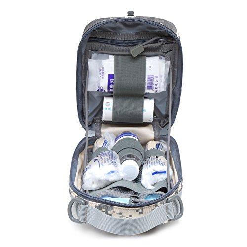 51 8pGLnqTL - Botiquín de primeros auxilios EMT Bolsa táctica compacta MOLLE Botiquín médico 1000D para viajes en el lugar de trabajo al aire libre en el hogar (gris)