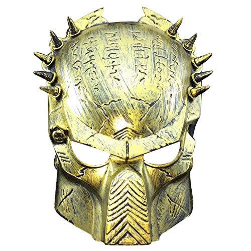 YaPin Halloween Horror Einsame Wolf Warrior Maske Kostümparty Geist Tanz Maske Vollgesichts Erwachsene Lustige Maske (Color : Antique Gold)