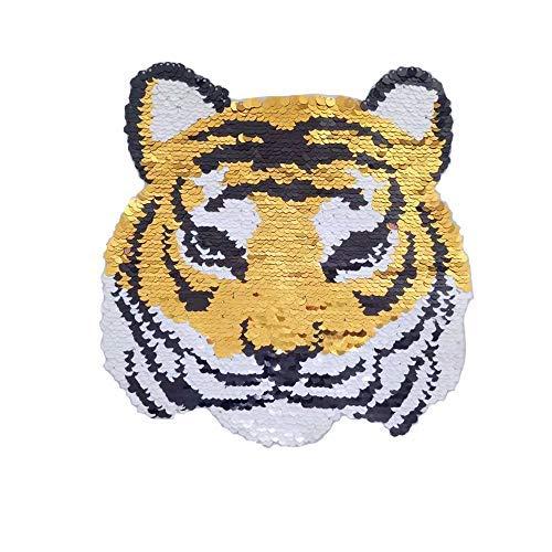 DIY 7 Stück verschiedene Stile Pailletten Ende zu gesäumten Sternen Patches Deal with It Aufnähen für Kleidung, Kleid, Pflanzen, Hut, Jeans, Nähen, Tiger Reversible Tiger - Reversible Hut