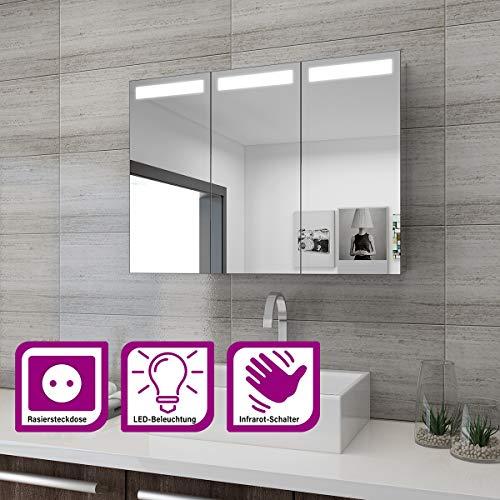 Elegant Spiegelschrank LED 3-türig Badezimmerspiegel mit Beleuchtung 90 x 65 cm Infrarot-Sensorschalter Badezimmerspiegel Badschrank mit Rasierersteckdose