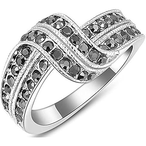 Anelli Donna Matrimonio Placcato Oro Cristallo Austriaco Cz Double Black Diamond Di Aienid
