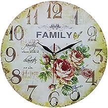 Decoración del hogar estilo vintage y Shabby Chic Reloj de pared de MDF, escena familia y rosas