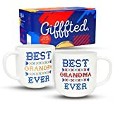 Gifffted Best Grandparents Ever Coffee Mugs, Funny Anniversary and Birthday Gifts For Grandma