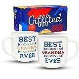 Gifffted Tassen Beste Oma und Bester Opa der Welt, Weihnachts, Großeltern Geschenke für Jubiläum und Weihnachten, Muttertag Geschenk Vatertag Geschenkidee, Kaffeetassen 380 ML, 2er-Set