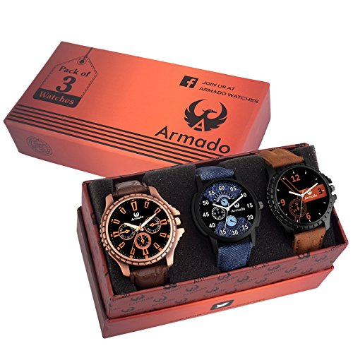 Armado Analog combo Of 3 Modish Watches For Men-AR-811261