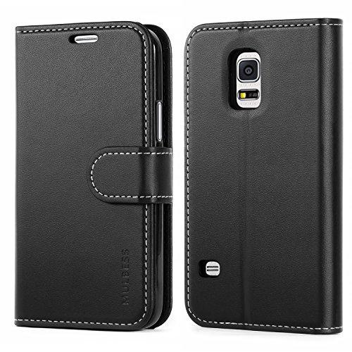 Mulbess Business Style Ledertasche im Ständer Book Case / Kartenfach für Samsung Galaxy S5 mini Tasche Hülle Leder Etui,Schwarz