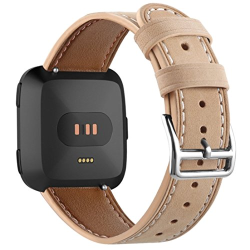 Produktbild TopTen Fan-Motive Leder Sports Handgelenk Armband Strap Ersatz Zubehör Armbanduhr-Band für Fitbit Versa Gesundheit und Fitness Smartwatch,  Beige