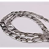 10mm Stainless Steel Wide Figaro Chain Necklace 60cm for Men and Women - Silver