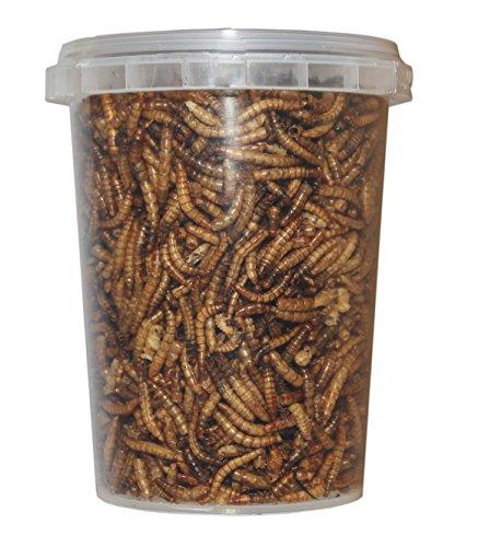 Vermi della farina essiccati a freddo/essiccati, mangime per rettili, tartarughe, porcospini, uccelli, confezione da 500 ml