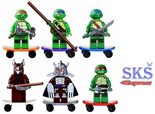 6 pcs Set Teenage Mutant Ninja Turtles (TMNT) Minifigures Building Toys by SKS® Express