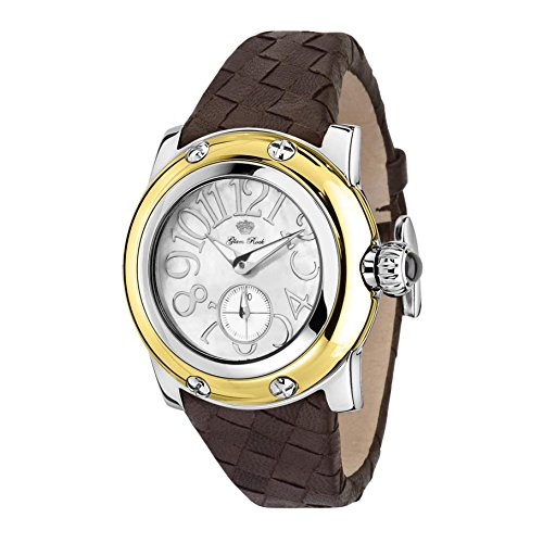 Glam Rock Women's Palm Beach 40mm Brown Leather Band Steel Case Swiss Quartz White Dial Watch GR40053