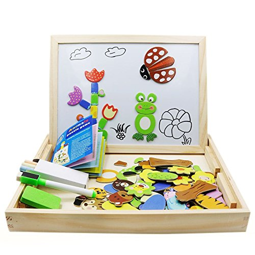 Magnetic Puzzles Kids Wooden Games 109 Pieces Double Side Education Wooden Toys Animals Puzzle Games For Boy & Girls By FLERISE