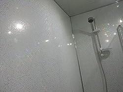 8 White Sparkle Diamond Effect PVC Bathroom Cladding Shower Wall Panels