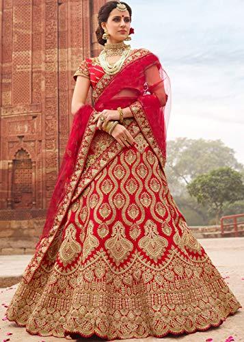 Jesti Designer Women's Heavy Embroidered Banglory Silk Taffeta Lehenga Choli for Women Latest Design (Red.)
