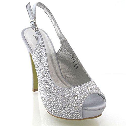 Onlineshoe Damen Peep Toe Satin Braut Hochzeit Schuhe Pumpen Silber Satin