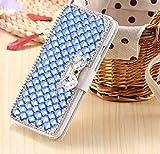 Amocase - Funda de piel tipo cartera para iPhone X, 2 en 1, con lápiz capacitivo, hecha a mano en 3D, diseño de diamantes de imitación, con lazo magnético, a prueba de...