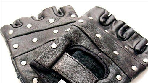 k Biker Kostüm Ninja Nietenbesetztes Leder Handschuhgröße Senior Kostüm, Tragen (Biker Kostüme)
