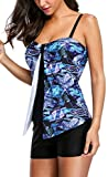 Attraco Damen Two Piece Bademode Bandeau Tankini Mit Hotpants Blau L