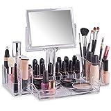 Beautify Présentoir Organisateur Maquillage avec Miroir Recto-Verso - Acrylique
