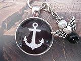 Handmade Schlüsselanhänger, Taschenanhänger Anker- Schwarz, mit Schutzengel