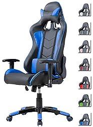 Delman Gaming Stuhl Bürostuhl Racing Stuhl Schreibtischstuhl ergonomische Design 02-1004 (Schwarz-Blau)