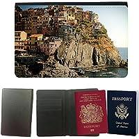 Cubierta del pasaporte de impresión de rayas // M00169075 Cinque Terre Italia Case Monti // Universal passport leather