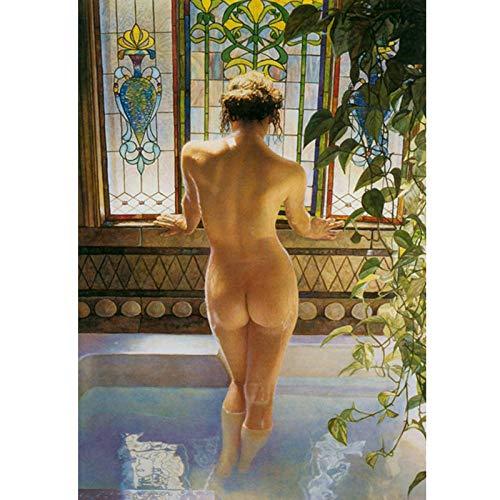 wydlb Amerikanischen Stil Menschen Frauen nackt Kunst Bad landschaftsmalerei leinwand, drucke gedruckt auf leinwand wandkunst Dekoration Bild 60x90 cm kein Rahmen