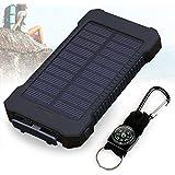 TTPLANET Solar Ladegerät 20000mAh Dual USB Akku Pack Portable Telefon Solar Power Bank mit LED Licht für iPhone, iPad, iPod, Handy, Tablet, Kamera (Schwarz)