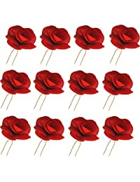 Gold Coloured Stick Pin With Ceramic Red Roses Jewelry & Watches