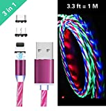Ruibo Sike 3 in 1 magnetisches USB-Kabel, 2,4 A High Speed USB auf Micro USB Ladekabel - fließende LED Licht Up Android Ladekabel violett