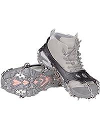 Schuhspikes, KUMFI Schuhkrallen mit 18 Zähnen, Steigeisen mit Edelstahlspikes für Bodenhaftung auf Eis und Schnee