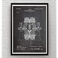 Tesla Patent Poster Affiche - Electric Circuit Controller - Engineering Gift Engineer Science Vintage Blueprint Wall Print Art - Frame Not Included
