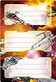 Herma 5589 Buchetiketten Schule, Motiv Weltall Raumschiff, Inhalt: 6 Heftetiketten für Schulhefte, Format 7,6 x 3,5 cm, beglimmert