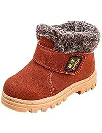 Tefamore zapatos botas de nieve bebe de deporte de primeros pasos de antideslizante de solo suave invierno de calentar (Tamaño: 26, marrón)