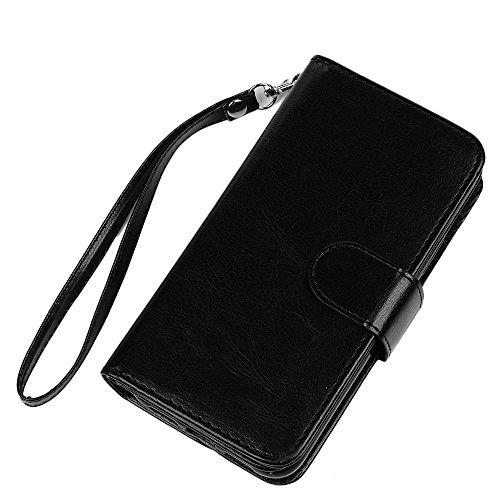 MAXFE.CO Schutzhülle Tasche Case für iPhone X PU Leder Flip Tasche Cover Einfarbig Trennbar Handyhülle mit Book Case / Kartenfach Rose Gold Schwarz
