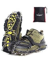Unigear Steigeisen für Bergschuhe, mit 18 Zähnen, Schuhkrallen, Eisspikes, Schneekette, Grödel und Spikes für Klettern Bergsteigen Trekking High Altitude Winter Outdoor, MEHRWEG