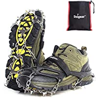 Unigear Steigeisen für Bergschuhe, mit 18 Zähnen, Schuhkrallen, Eisspikes, Schneekette, Grödel und Spikes für Klettern Bergsteigen Trekking High Altitude Winter Outdoor