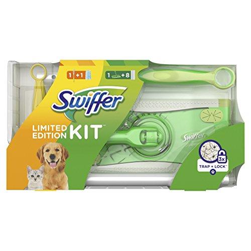 Swiffer Kit Limited Edition Scopa con 8 Panni Catturapolvere + Manico Duster con 1 Piumino
