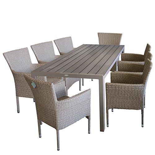 9tlg. Terrassenmöbel Gartenmöbel Set Gartengarnitur Sitzgruppe Sitzgarnitur - Gartentisch, Polywood-Tischplatte, 205x90cm, champagner + 8x Gartensessel, Poly-Rattangeflecht, naturfarben