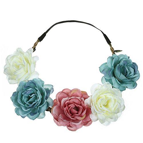 Boho Blumen Stirnbänder, TTWOMEN Damen Vintage Blumendruck Festival Knoten Haarband Kopf Turban Haar Beach Party Zubehör (Mehrfarbig) (Mädchen Kostüm Samt Hexe Schwarz Kleine)