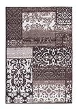 Kurzflorteppich Teppichläufer Orientteppich Vintage Patchwork Orientalisches Muster Used Look– Wohnzimmerteppich Schlafzimmer Flurläufer – Oeko Tex 100 pflegeleicht umkettelt – 133cm x 190cm taupe